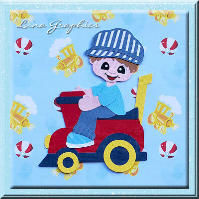 BOY FISHING WITH BOAT  Paper Piecing card toppers and scrapbooking