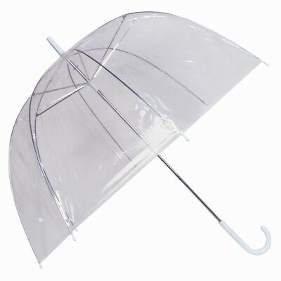 LARGE DOME UMBRELLA Clear Birdcage Ladies Transparent Wedding Rain Brolly