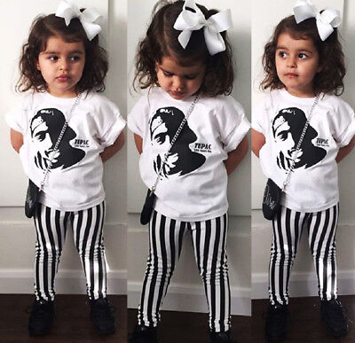 UK Stock Toddler Baby Kids Girls Tops T Shirt Striped Pants Outfits Set Clothes