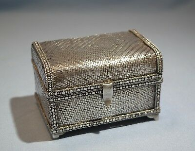900 Silver String Woven Trinket Hinged Chest Form Box late 19th Century