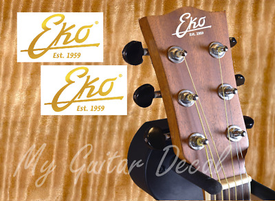 2 x Decalcomania Eko Est.1959 Decal Chitarra Guitar Very Ink Gold & Silver