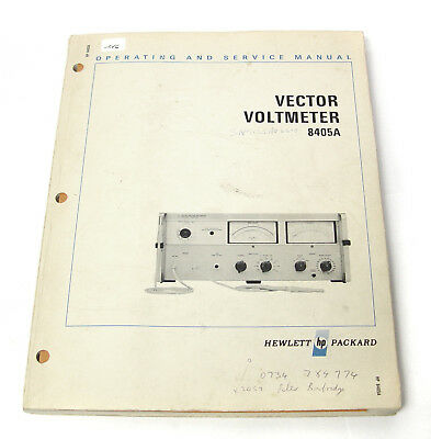 Manual Hewlett Packard HP 8405A Vector Voltmeter, Operating & Service