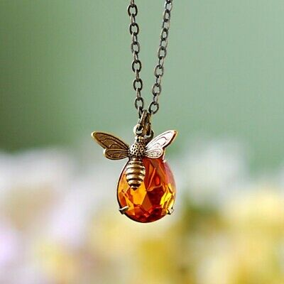 Charm Jewelry Chain Crystal Bee and Honey Necklace Golden Rhinestone Pendant