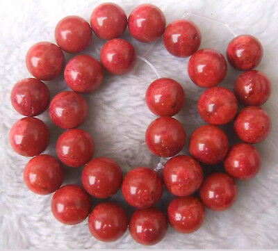 4mm-24mm Red Sponge Coral Round Loose Beads 15.5 ""