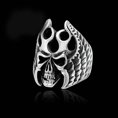 Cool Gothic Punk Men Stainless Steel Skull Demon Biker Band Finger Rings Silver