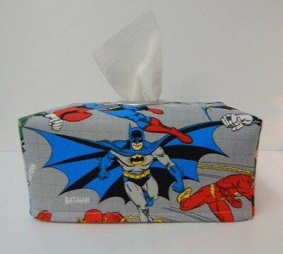 Tissue Box Cover Batman Superman League of Justice  With Circle Opening