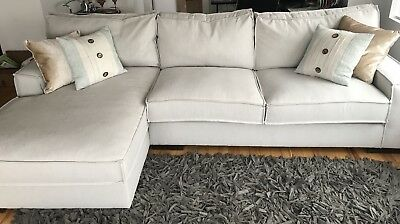 Modern Living Room Large Linen Sectional Sofa With Extra Wide Chaise Beige