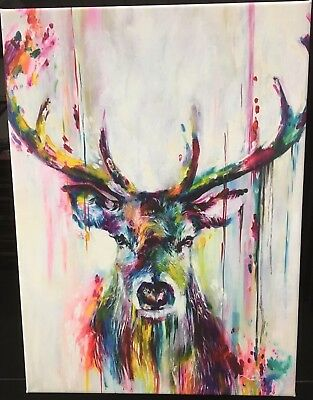 "Extra Large Colourful Stag wall art printed on canvas 20"" x 30"" solid frame"