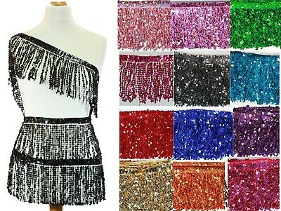 "Sequin Tassel Trim 15 cm 6"" Luxury Fringe Fringing  10 different colour #1"