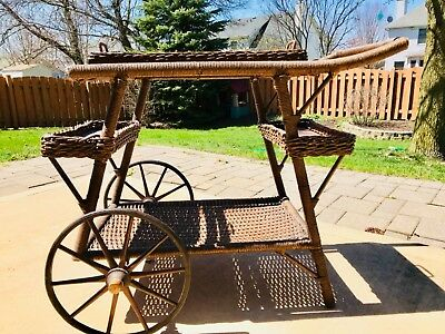 Vintage Brown Wicker Tea Cart With Removable Tray. Unique & Beautiful!