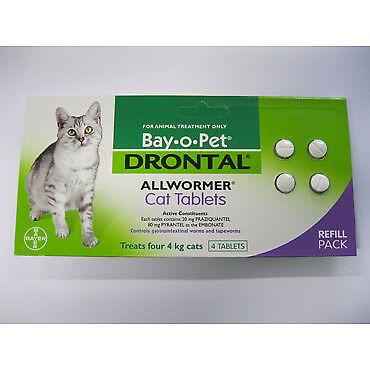 Drontal Cat 4kg 4 Tablets NEW Cincotta Chemist