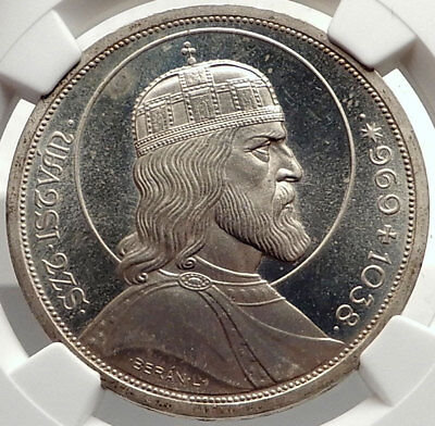 1938 HUNGARY King SAINT STEPHEN 900th Large Silver Hungarian Coin NGC MS i69117