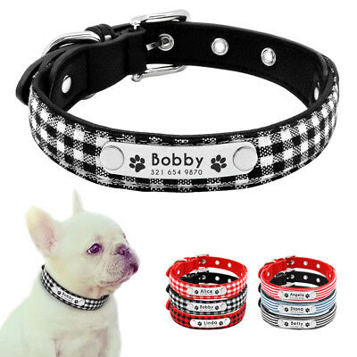 Soft Leather Dog Collar Grid Stripe Fabric Personalized Dog Collars for Puppy