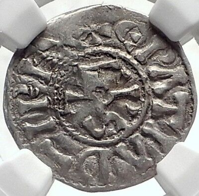 CAROLINGIAN France 840AD Silver Denier Coin of CHARLES II the BALD NGC i69121