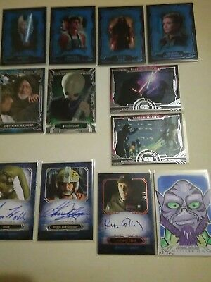 2016 Topps Star Wars Masterworks Lot Of 12 Cards Including 4 Autographs & Sketch