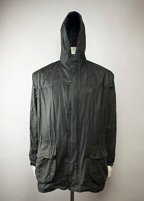 Vintage Barbour Durham Hooded Waxed Jacket Navy Size C44 / 112 CM