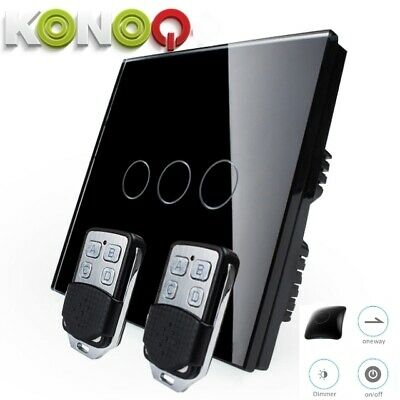 KONOQ+ Luxury Glass Panel Touch LED Light Switch :WIFI DIMMER, Black, 3Gang/1Way
