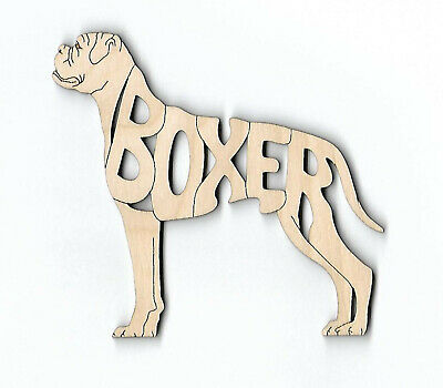 Boxer dog with natural ears and tail laser cut and engraved wood Magnet