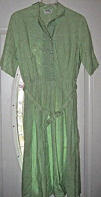 Vintage Flutterbye Green Check Button to the Waist Mid Century Dress with Belt