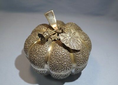Cambodian Large 900 Silver Engraved Pumpkin-Form Betel/Trinket Box 20th Century