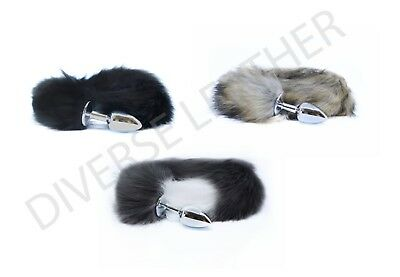 6f83e1aad Stainless Steel Fox Tail Anal Butt Plug Faux Fur Animal Tail Natural Adult  Toy