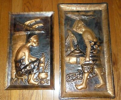2 Vintage Hammered Copper African Wall Plaques Showing Daily Life 1 Signed MWEPU
