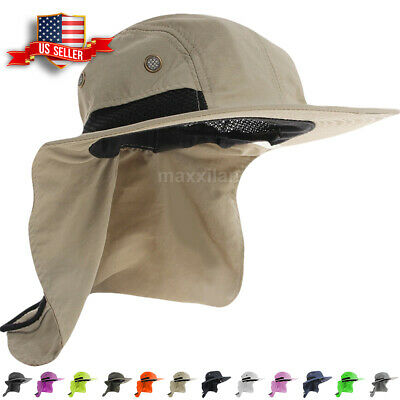 Boonie Snap Hat for Men Wide Brim Visor Ear Neck Cover Sun Flap Cap for Outdoors