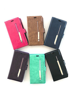 Galaxy S9Plus Multi-function Zipper Coin Cover Slot Wallet Flip Hand Strap Case