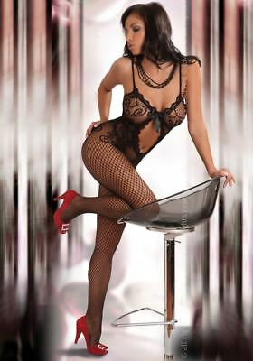 Sexy Lingerie Body Stocking Open Crotch Lace Bow Body Suit Plus Size