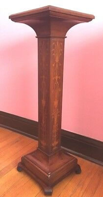 An Antique Mahogany And Marquetry Pedestal/plant Stand.
