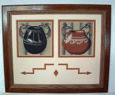 Original Navajo Sand Paintings Pottery/Kokopellis by Herman Tyler Jr (H.T. Jr)