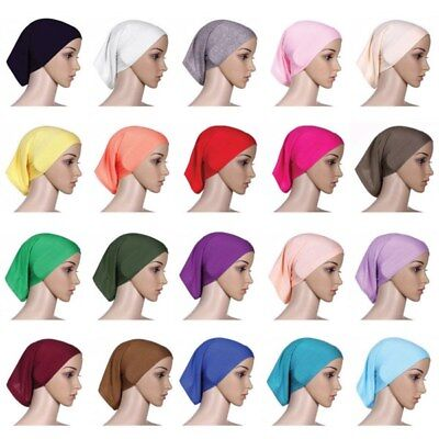 Women Under Scarf Tube Bonnet Cap Bone Islamic Head Cover Hijab Hair Wrap USA