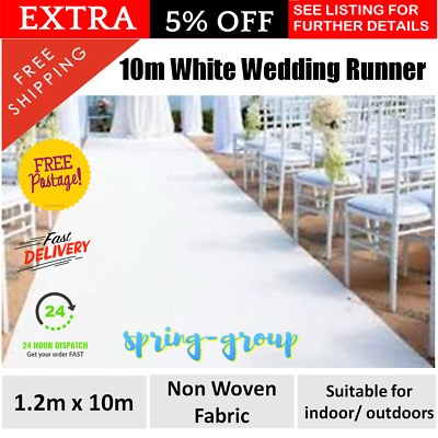 NEW 1.2m x 10m White Carpet Aisle Runner Wedding Ceremony Party Event Decoration