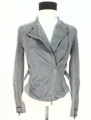 AX Armani Exchange Moto Biker Jacket Gray/Silver Faux Leather Zip Womens XS $160