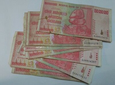 Zimbabwe 100 Million Banknote clearance 10 pieces