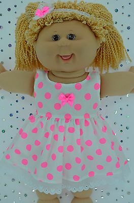 "PlaynWear Doll Clothes For 16"" Cabbage Patch FLURO PINK POLKA DOT DRESS~HEADBAND"