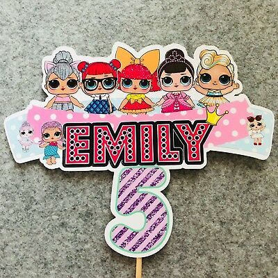 LOL Surprise Dolls PERSONALISED Cake Topper. Lolly Loot Bag Party Supplies
