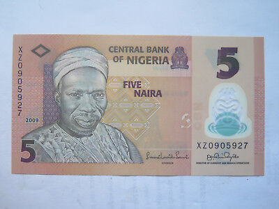 CENTRAL BANK of NIGERIA 5 NAIRA BANK NOTE EXCELLENT UNCIRCULATED CONDITION 2009