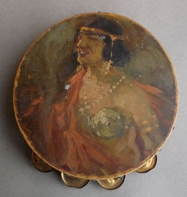 Antique Ottoman Tambourine (tef) with oil painting portrait of the dancer