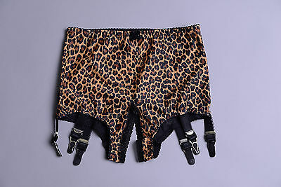 034 Revival lingerie Crotchless open bottom Leopard print powernet girdle  S-3XL