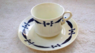 Vintage Cauldon China Cup And Saucer With A Blue And White Geometric Pattern