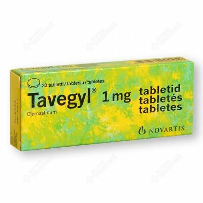 Tavegyl 1mg 20 Tablets - For Allergy, Rashes, Itching