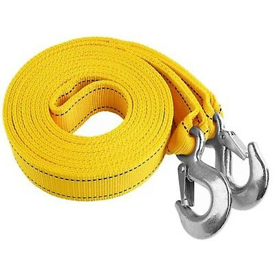 Heavy-Duty 3 Tons 20ft Car Tow Rope Cable Towing Strap With Hooks Emergency