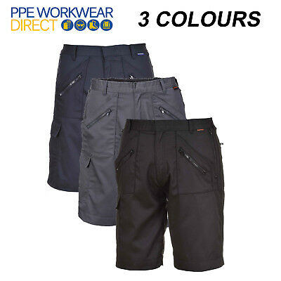 Portwest Action Shorts Elasticated Waist Work Safety Zip Pockets Cargo S889