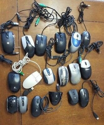 job lot pc mouse mice wireless usb wired serial various mixed lot used pics read