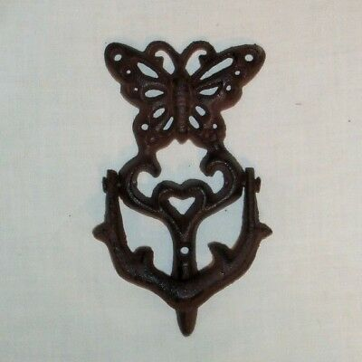Victorian BUTTERFLY Cast Iron Door Knocker Rustic Finish Country Vintage Look