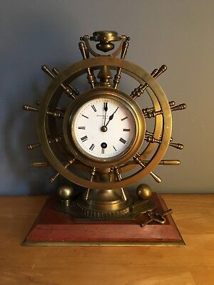 Antique French bronze nautical desk clock compendium. French Circa 1890