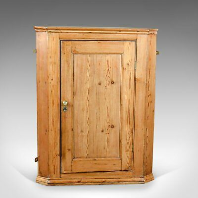 Antique Corner Cabinet, English, Victorian, Pine, Hanging, Cupboard Circa 1880