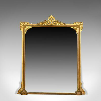 Antique Overmantel Mirror, English Victorian, Wall Giltwood and Gesso Circa 1850
