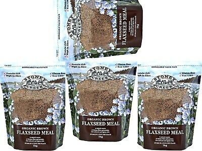 4 x 1kg Stoney Creek Organic Brown Flaxseed Meal ( total 4kg ) * FREE POST *
